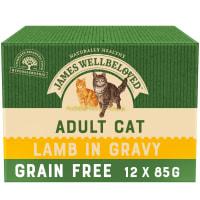 James Wellbeloved Grain Free Adult Cat Wet Food Pouch - Lamb in Gravy