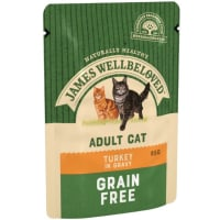 James Wellbeloved Grain Free Adult Cat Wet Food Pouch - Turkey in Gravy