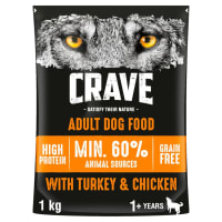 Crave Natural Grain Free Adult Dry Dog Food - Turkey & Chicken