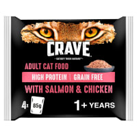 Crave Adult Pouch Wet Cat Food - Salmon & Chicken in Loaf