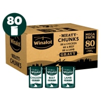 Winalot Meaty Chunks Mixed Selection in Gravy Wet Dog Food 80 x 100g