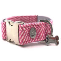 Hugo & Hudson Pink Herringbone Dog Collar