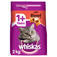 Whiskas 1+ Complete Adult Dry Cat Food - Beef