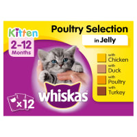 Whiskas 2-12 Months Kitten Wet Cat Food Pouches - Poultry Selection in Jelly