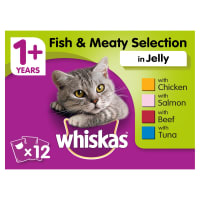 WHISKAS 1+ Cat Pouches Fish & Meaty Selection in Jelly