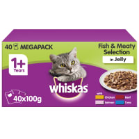 WHISKAS 1+ Cat Pouches Fish & Meaty Selection in Jelly 40x100g Mega Pack