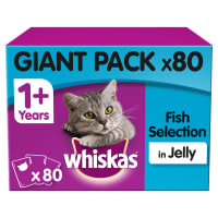 WHISKAS 1+ Cat Pouches Fish Selection in Jelly 80x100g Giant Pack