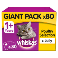 WHISKAS 1+ Cat Pouches Poultry Selection in Jelly 80x100g Giant Pack