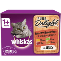 Whiskas Pure Delight Adult 1+ Wet Cat Food Pouches - Meaty Selection in Jelly