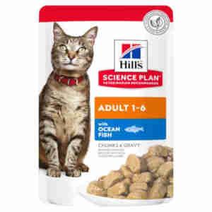 Hills Adult Optimal Care Tender Chunks (Kip of Zeevis) voor katten