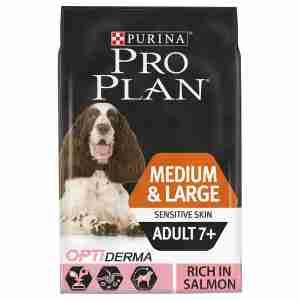 Purina Pro Plan Chien Medium Adult 7+ Sensitive Skin avec Optiderma - Saumon