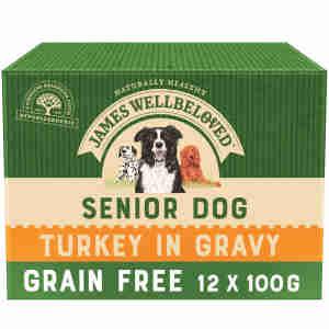 James Wellbeloved Grain Free Senior Turkey Wet Dog Food Pouch