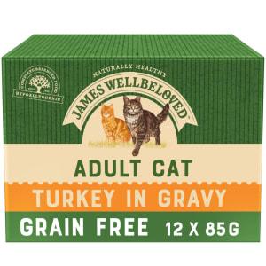 James Wellbeloved Grain Free Adult Cat Wet Food Pouch - Turkey in Gravy