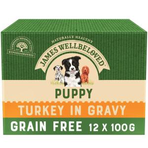 James Wellbeloved Grain Free Puppy Wet Dog Food Pouches - Turkey in Gravy