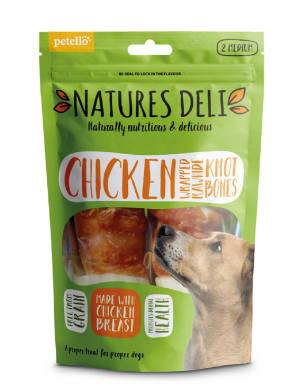 Natures Deli Wrapped Rawhide Knot Bone Medium Adult Dog Treats - Chicken