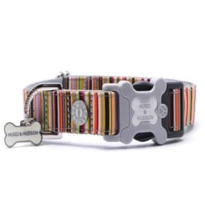 Hugo & Hudson Multicoloured Striped Dog Collar