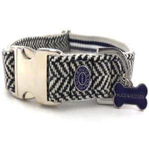 Hugo & Hudson Herringbone Dog Collar in Navy