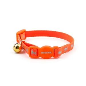 Ancol Hi-Vis Nylon Reflective Safety Kitten Collar in Orange
