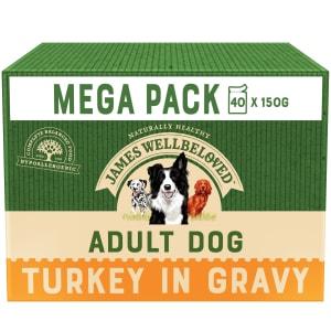 James Wellbeloved Natural Adult Wet Dog Food Pouches - Turkey & Rice in Gravy
