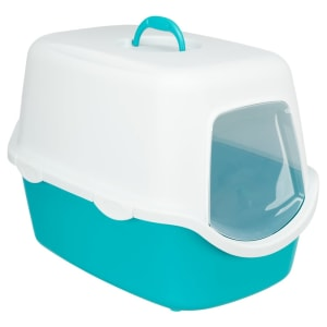 Trixie Vico Cat Litter Tray with Dome in Turquoise/White