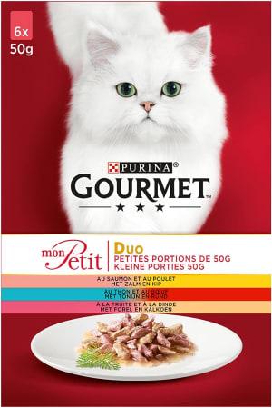 Gourmet Mon Petit Duo au Saumon et au Poulet, au Thon et au Bœuf, à la Truite et à la Dinde