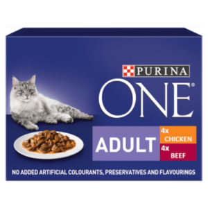 Purina ONE Adult Mini Fillets Wet Cat Food - Chicken & Beef with Green Beans