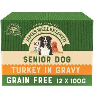 James Wellbeloved Grain Free Senior Wet Dog Food Pouches - Turkey in Gravy
