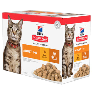 Hill's Science Plan Adult 1-6 Wet Cat Food - Poultry Selection