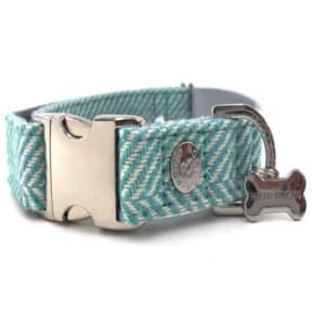 Hugo & Hudson Aqua Herringbone Dog Collar