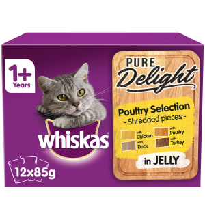 WHISKAS 1+ Cat Pouches Pure Delight Poultry Selection in Jelly