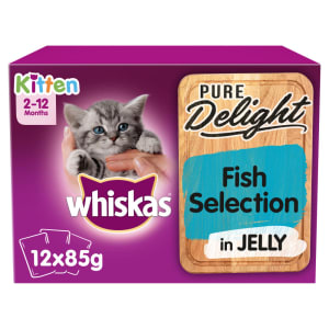 WHISKAS 2-12mths Kitten Pouches Pure Delight Fish Selection in Jelly