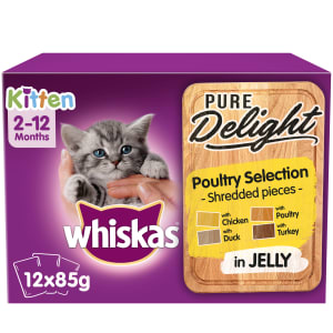 WHISKAS 2-12mths Kitten Pouches Pure Delight Poultry Selection in Jelly