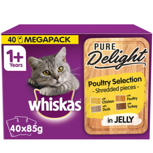 WHISKAS 1+ Cat Pouches Pure Delight Poultry Selection in Jelly 40x85g Mega Pack