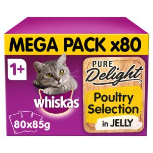 WHISKAS 1+ Cat Pouches Pure Delight Poultry Selection in Jelly 80x85g Giant Pack
