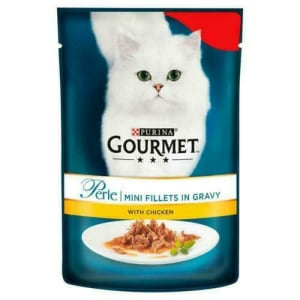 Gourmet Perle Mini Fillets Pouches Adult Wet Cat Food - Grilled Chicken in Gravy