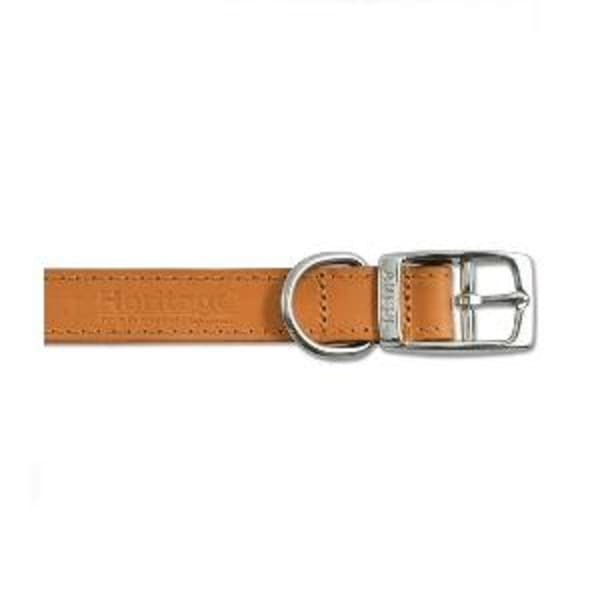 Ancol Heritage Leather Sewn Half Lined Collar in Tan