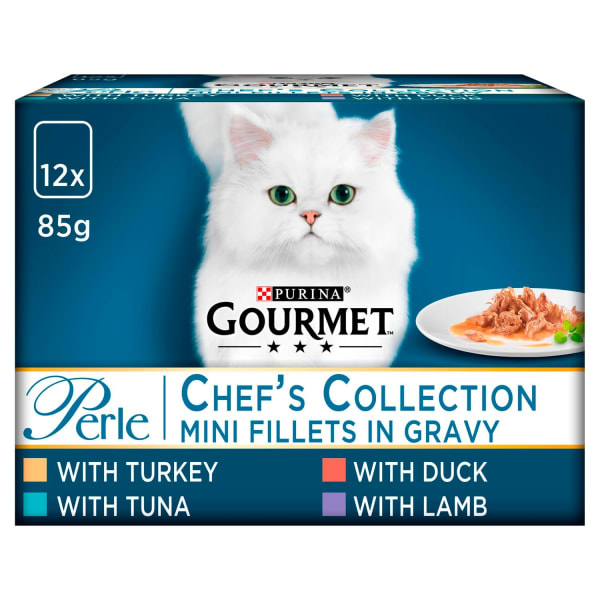 Gourmet Perle Mini Fillets Pouches Adult Wet Cat Food - Chefs Selection in Gravy