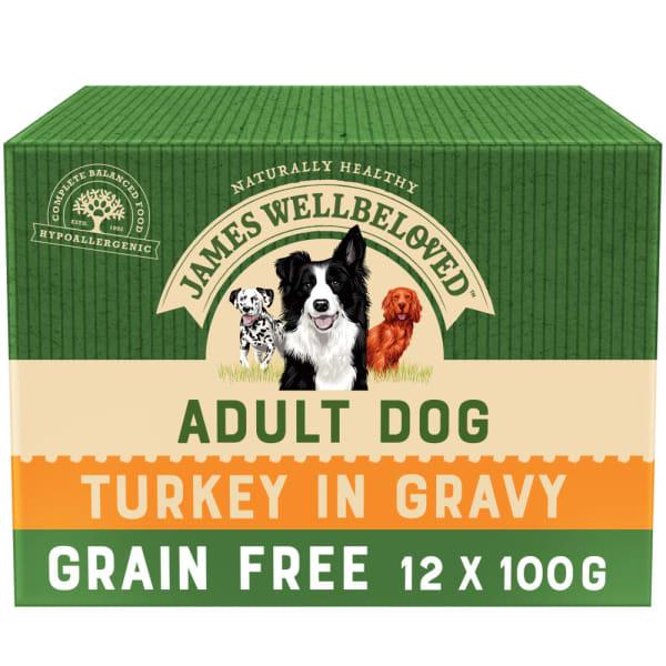 James Wellbeloved Grain Free Adult Wet Dog Food Pouches - Turkey in Gravy