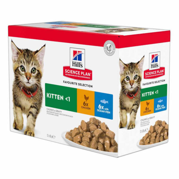 Hill's Science Plan Kitten <1 Wet Cat Food Pouches - Favourite Selection