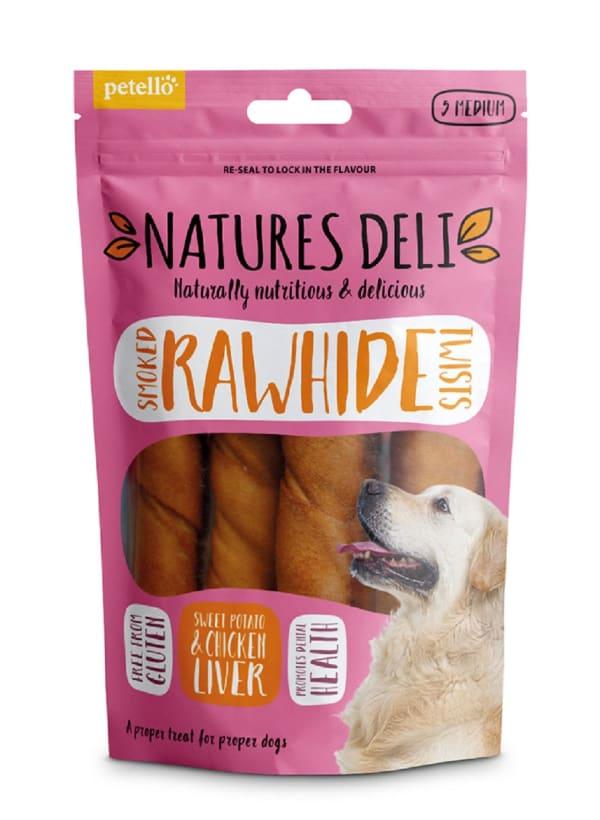 Natures Deli Smoked Hide Twist Medium Adult Dog Treats - Chicken Liver