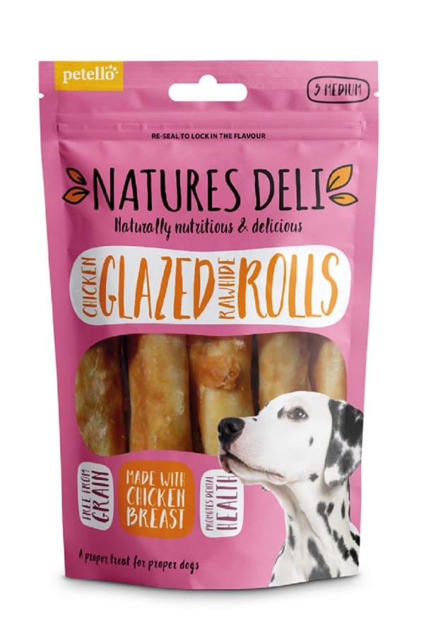 Natures Deli Glazed Rawhide Roll Medium Adult Dog Treats - Chicken
