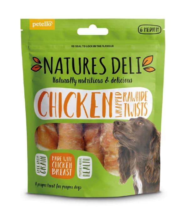 Natures Deli Wrapped Rawhide Twist Medium Adult Dog Treats - Chicken