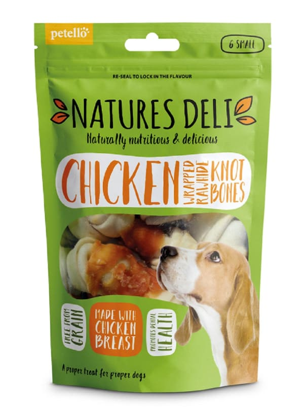 Natures Deli Wrapped Rawhide Knot Bone Adult Small Dog Treats - Chicken