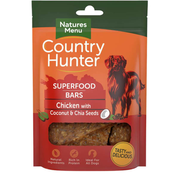 Natures Menu Country Hunter Superdood Bars Adult Dog Treats - Chicken with Coconut & Chia Seeds