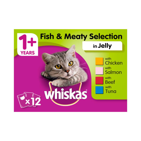 Whiskas Adult 1+ Wet Cat Food Pouches - Fish & Meaty Selection in Jelly