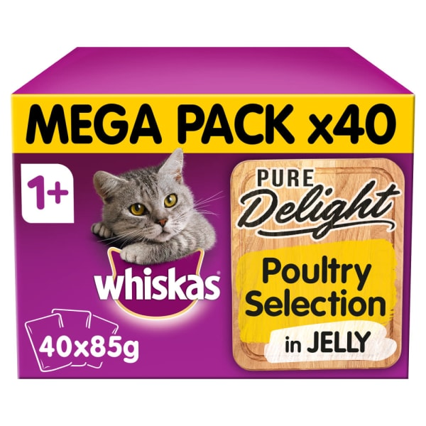 Whiskas Pure Delight Adult 1+ Wet Cat Food Pouches -Poultry Selection in Jelly