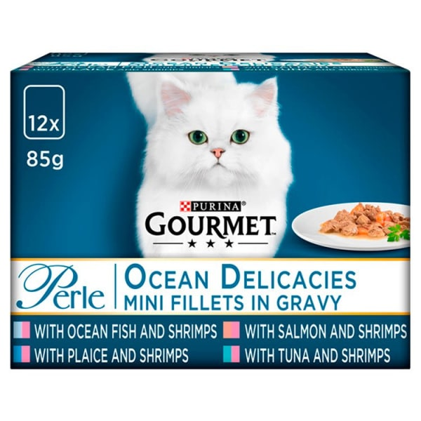 Gourmet Perle Mini Fillets Pouches Adult Wet Cat Food - Ocean Delicacies in Gravy