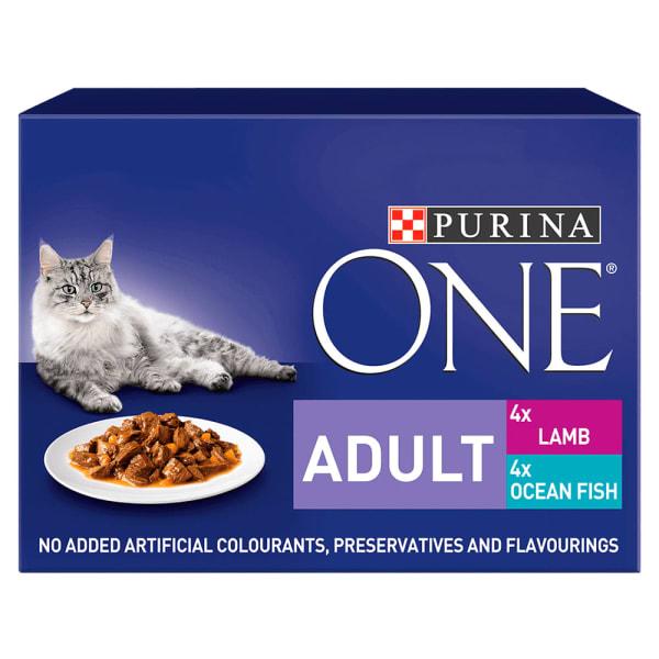 Purina ONE Adult Mini Fillets Wet Cat Food - Ocean Fish & Lamb with Carrots