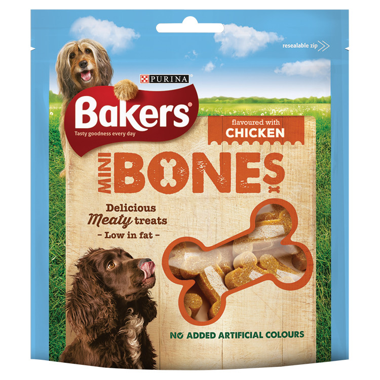 Sachet de mini-friandises BAKERS® en forme d'os de poulet pour chien